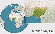 Satellite Location Map of Nigeria, lighten, land only