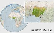 Satellite Location Map of Nigeria, lighten