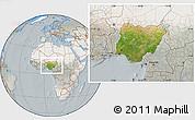 Satellite Location Map of Nigeria, lighten, semi-desaturated