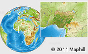 Satellite Location Map of Nigeria, physical outside