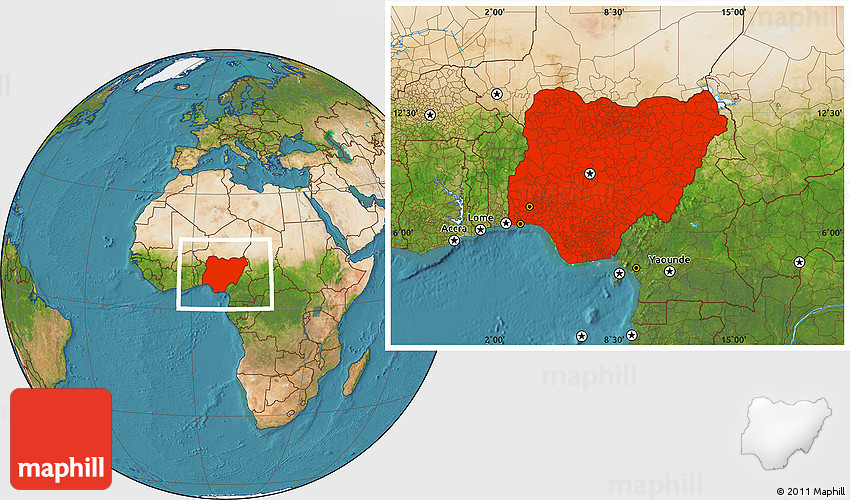 Satellite Location Map of Nigeria