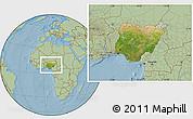 Satellite Location Map of Nigeria, savanna style outside, hill shading