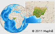 Satellite Location Map of Nigeria, shaded relief outside
