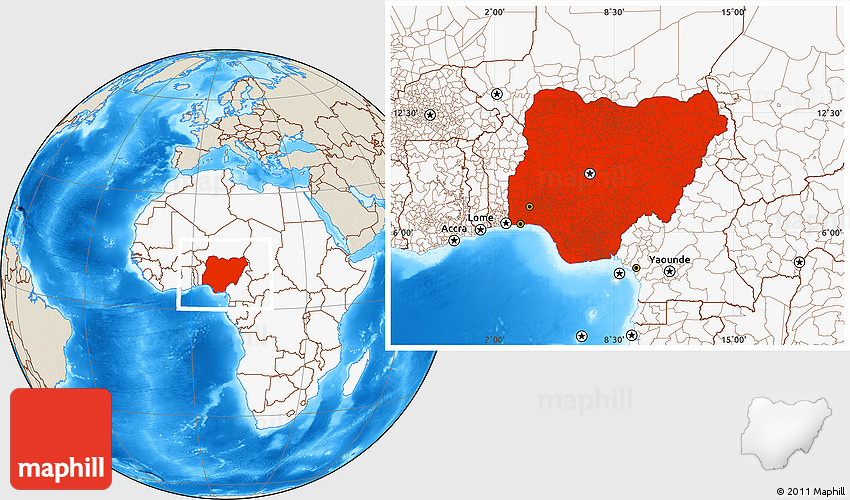 Shaded Relief Location Map of Nigeria highlighted continent