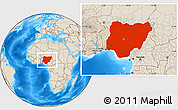 Shaded Relief Location Map of Nigeria