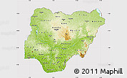 Physical Map of Nigeria, cropped outside