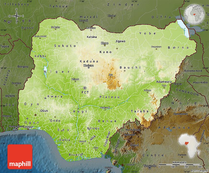 Physical Map of Nigeria darken