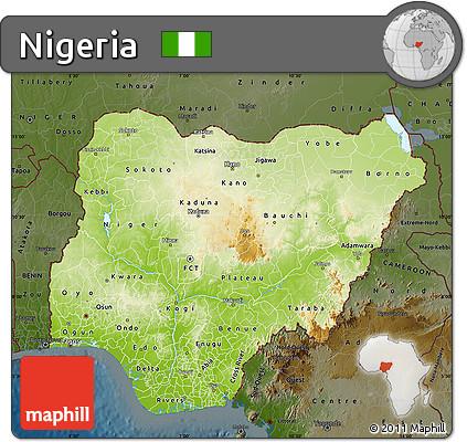 Free Physical Map of Nigeria darken