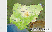 Physical Map of Nigeria, darken
