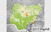 Physical Map of Nigeria, desaturated