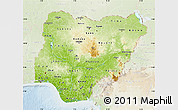 Physical Map of Nigeria, lighten