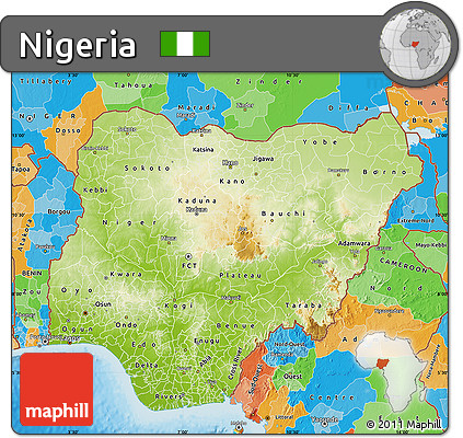 Free Physical Map of Nigeria political outside shaded relief sea
