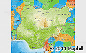 Physical Map of Nigeria, political outside, shaded relief sea