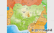 Physical Map of Nigeria, political shades outside, shaded relief sea