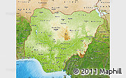 Physical Map of Nigeria, satellite outside, shaded relief sea