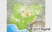 Physical Map of Nigeria, semi-desaturated, land only