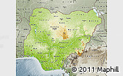 Physical Map of Nigeria, semi-desaturated