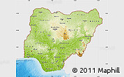 Physical Map of Nigeria, single color outside