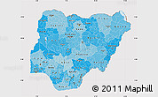 Political Shades Map of Nigeria, cropped outside