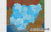 Political Shades Map of Nigeria, darken