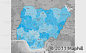 Political Shades Map of Nigeria, desaturated