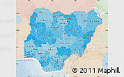 Political Shades Map of Nigeria, lighten