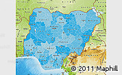 Political Shades Map of Nigeria, physical outside