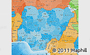Political Shades Map of Nigeria