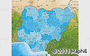 Political Shades Map of Nigeria, satellite outside, bathymetry sea