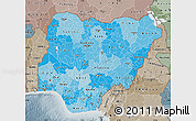 Political Shades Map of Nigeria, semi-desaturated