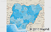 Political Shades Map of Nigeria, shaded relief outside, bathymetry sea