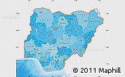 Political Shades Map of Nigeria, single color outside