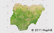 Satellite Map of Nigeria, cropped outside