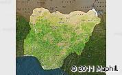 Satellite Map of Nigeria, darken