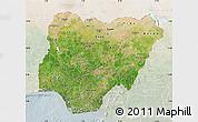 Satellite Map of Nigeria, lighten