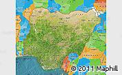 Satellite Map of Nigeria, political outside, satellite sea