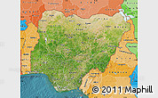 Satellite Map of Nigeria, political shades outside, satellite sea