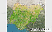 Satellite Map of Nigeria, semi-desaturated, land only