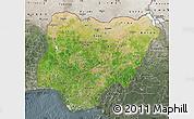Satellite Map of Nigeria, semi-desaturated