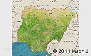 Satellite Map of Nigeria, shaded relief outside, satellite sea