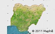 Satellite Map of Nigeria, single color outside
