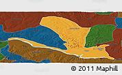 Political Panoramic Map of Lavun, darken