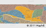 Political Panoramic Map of Lavun, semi-desaturated