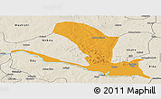 Political Panoramic Map of Lavun, shaded relief outside