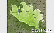 Physical Map of Niger, darken