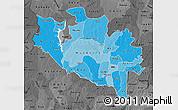 Political Shades Map of Niger, darken, desaturated