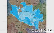 Political Shades Map of Niger, darken, semi-desaturated