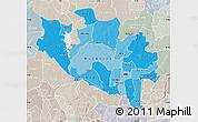 Political Shades Map of Niger, lighten, semi-desaturated