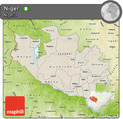 Free Shaded Relief Map of Niger physical outside
