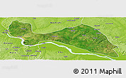 Satellite Panoramic Map of Mokwa, physical outside